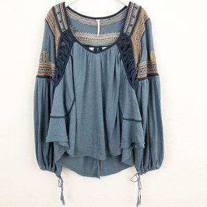 Free People blue embroidered peasant top